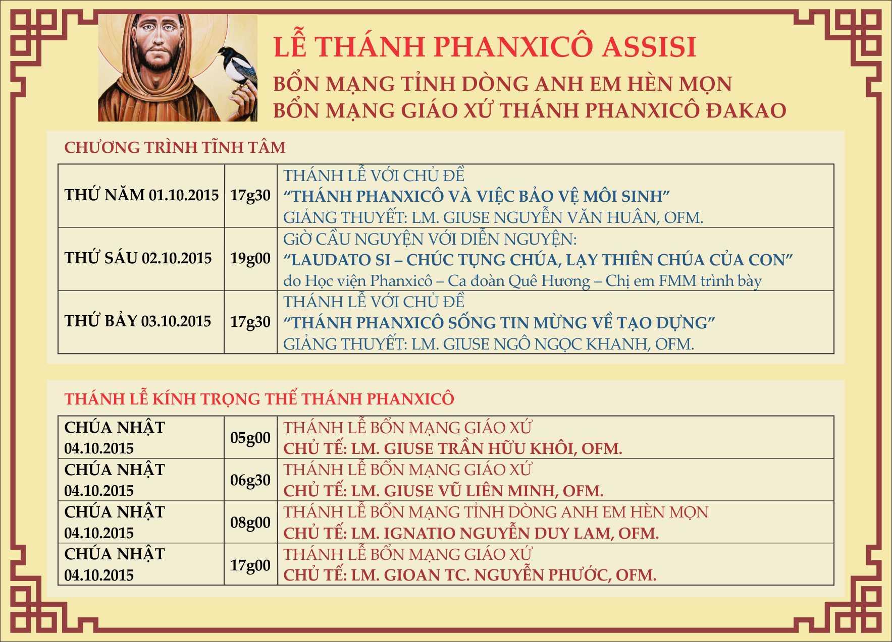 LE THANH PHANXICO ASSISI 4 10 2015